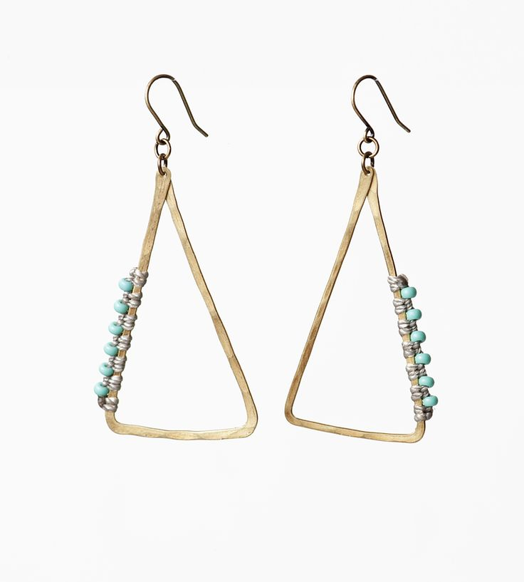 Beaded Brass Triangle Earrings