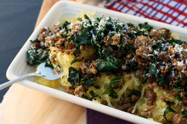 Spaghetti Squash With Sausage, Kale, And Sun-dried ...