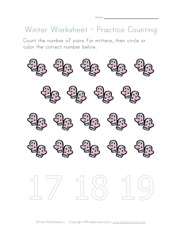 winter counting to nineteen | Pre-K worksheets | Pinterest