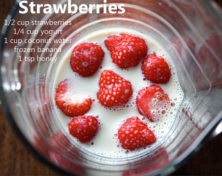 Strawberries, yogurt, coconut water, honey, frozen banana | Juice me ...