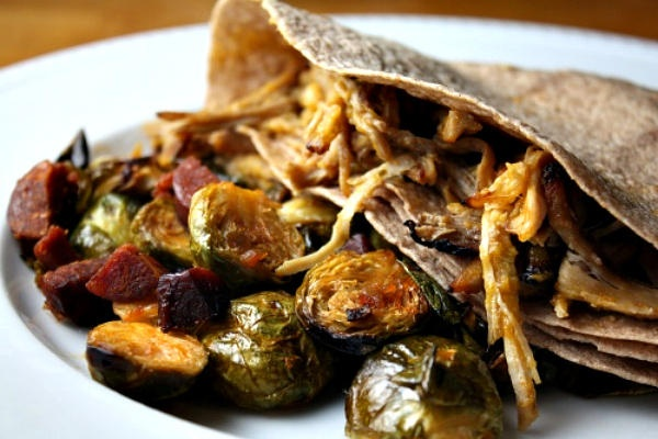 sweet potatoes with a side of roasted Brussels sprouts with chorizo ...