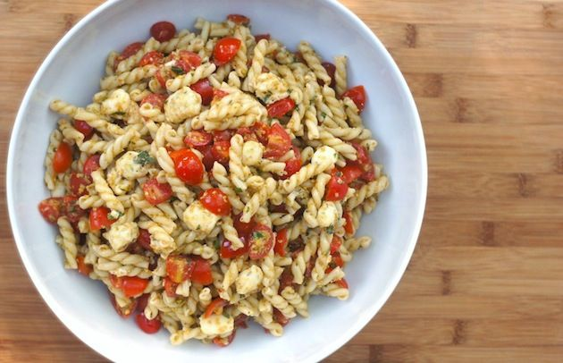 pasta salad with cherry tomatoes, fresh mozzarella and green olivada ...