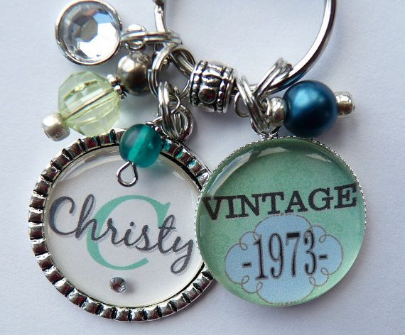 Personalized vintage 40th birthday keychain name by TrendyTz, $23.99
