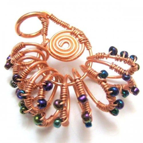 Nautilus Shell Handmade Wire Wrapped Copper Pendant