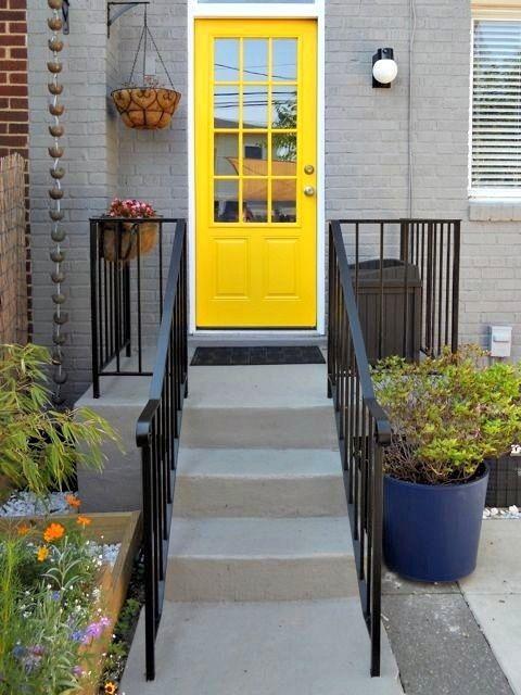 Grey house yellow door home sweet home pinterest for Front door yellow house