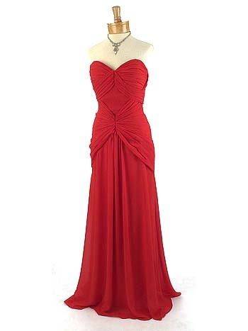 Strapless 40's Style Ruby Red Ruched Draped Chiffon Evening Gown