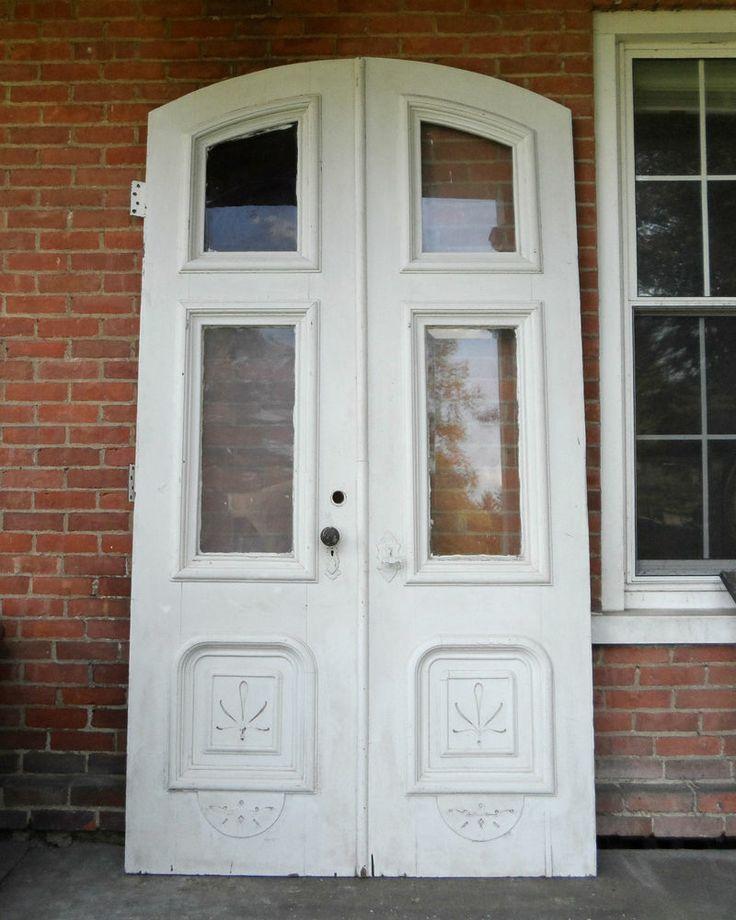 Victorian antique double entry doors arched top 8 39 x 4 1 for Screen door for double door entry