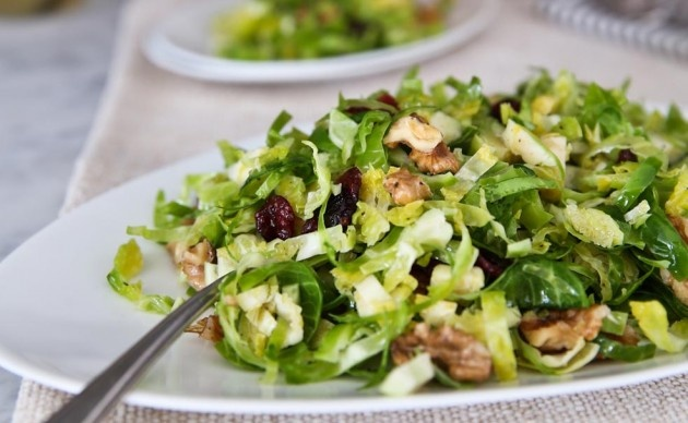 Shaved Brussels Sprouts Salad with Walnuts and Dried Cranberries | Re ...