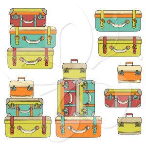 Suitcase Stack Clip Art Set | Clip Art | Pinterest
