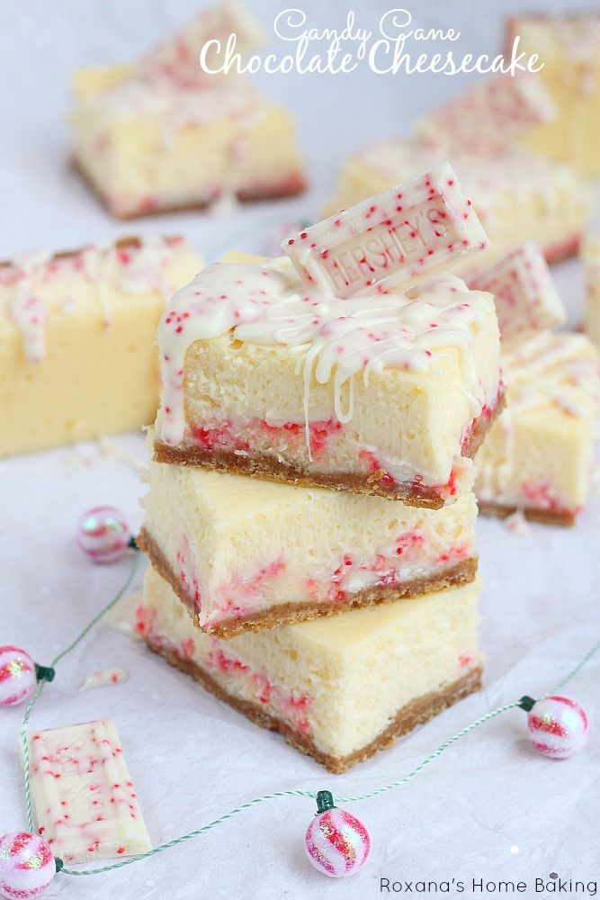 Candy Cane Chocolate Cheesecake Bars | Sweet treats | Pinterest