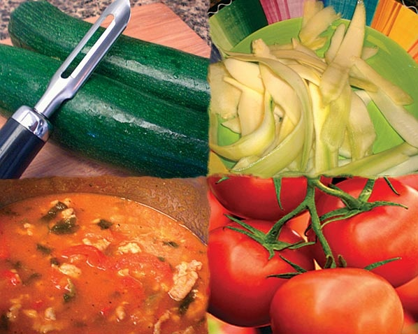 "Zucchini ""Pasta"" with Fresh Tomato Sauce 