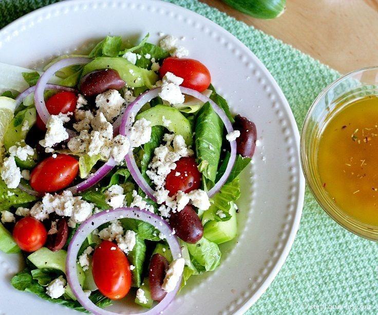 Greek Salad with Lemon Garlic Dressing | Salad Creations | Pinterest