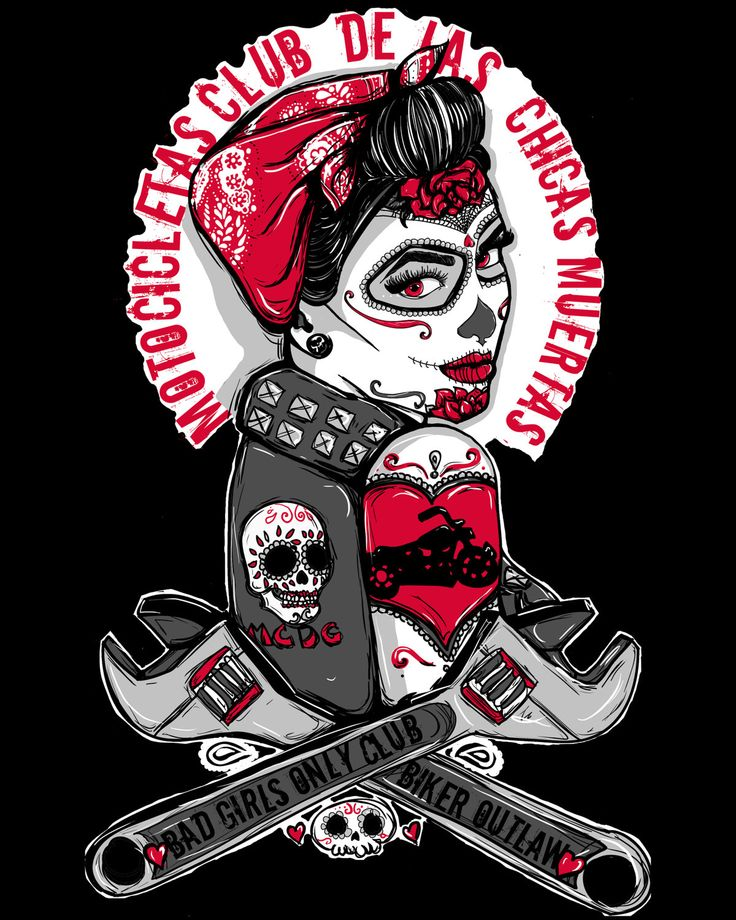 Rockabilly Pin Up Tattoo Flash  Day of the Dead Girl Biker Outlaw Motorcycle  Punk Rock  Steampunk Gothic Art Print Sugar Skull  16 by 20. $35.00, via Etsy.