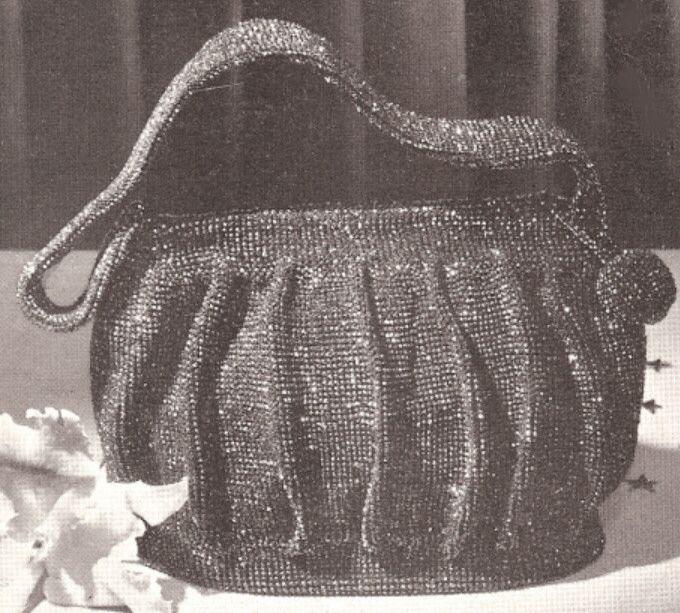Vintage Crochet Beaded Bag Purse Handbag pattern Retro