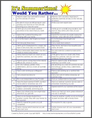 """End of the Year """"Would You Rather"""" questions from Minds in Bloom - FREE!"""