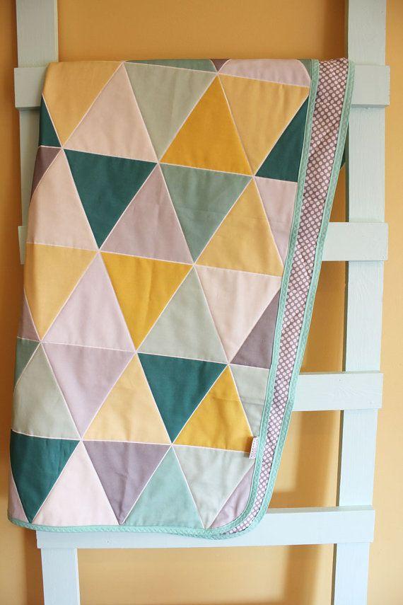 Mint nursery triangles : Mint teal and grey nursery