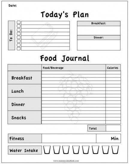 food journal free printable food charts pinterest