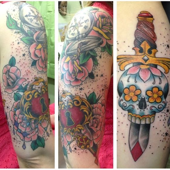 tattoos girly half sleeve tattoos pinterest. Black Bedroom Furniture Sets. Home Design Ideas