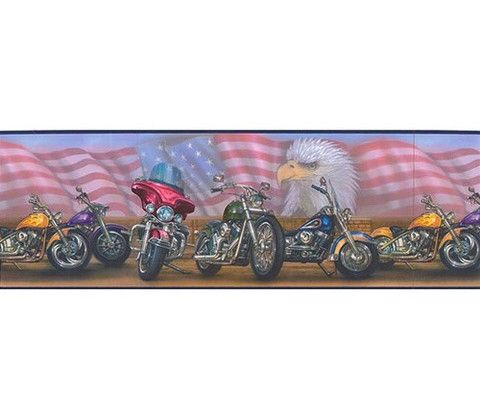 american flag motorcycle wallpaper border ll92321b byr92321b. Black Bedroom Furniture Sets. Home Design Ideas