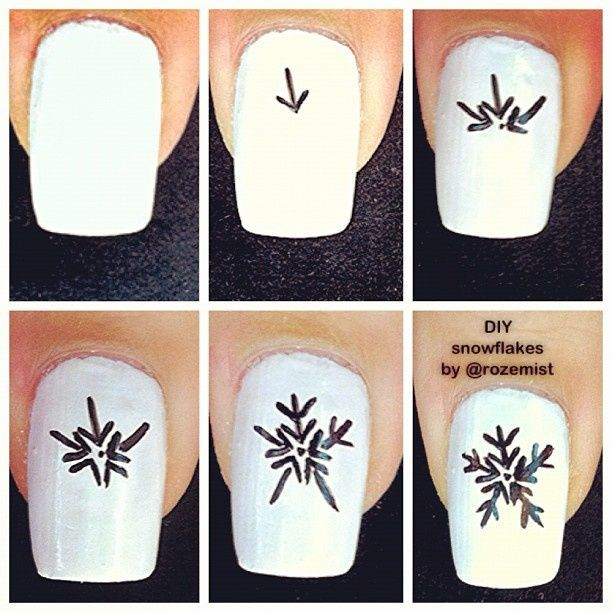 Snowflakes Nails step by step