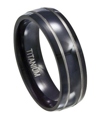 Men 39 S Black Titanium Wedding Band With Silver Bands And Polished Fini