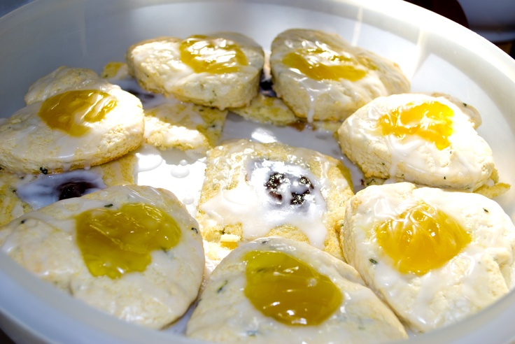 Lemon balm, thyme, lemon curd scones and rosemary scones with ...