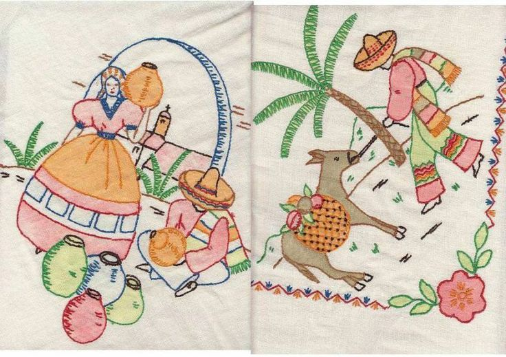 Cd vintage mexican fiesta south border hand embroidery