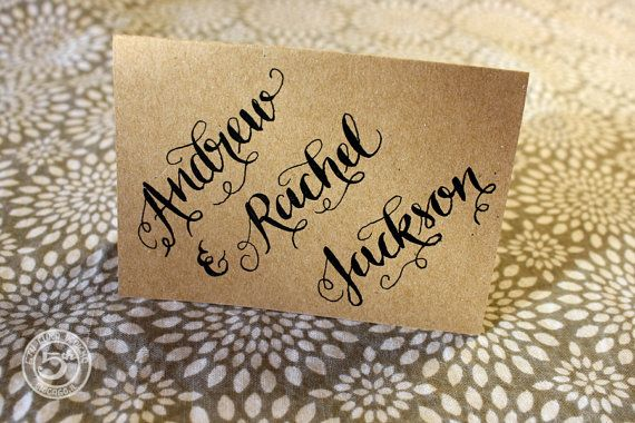 Handwritten Ink Dipped Traditional Calligraphy Custom Place card   Es ...