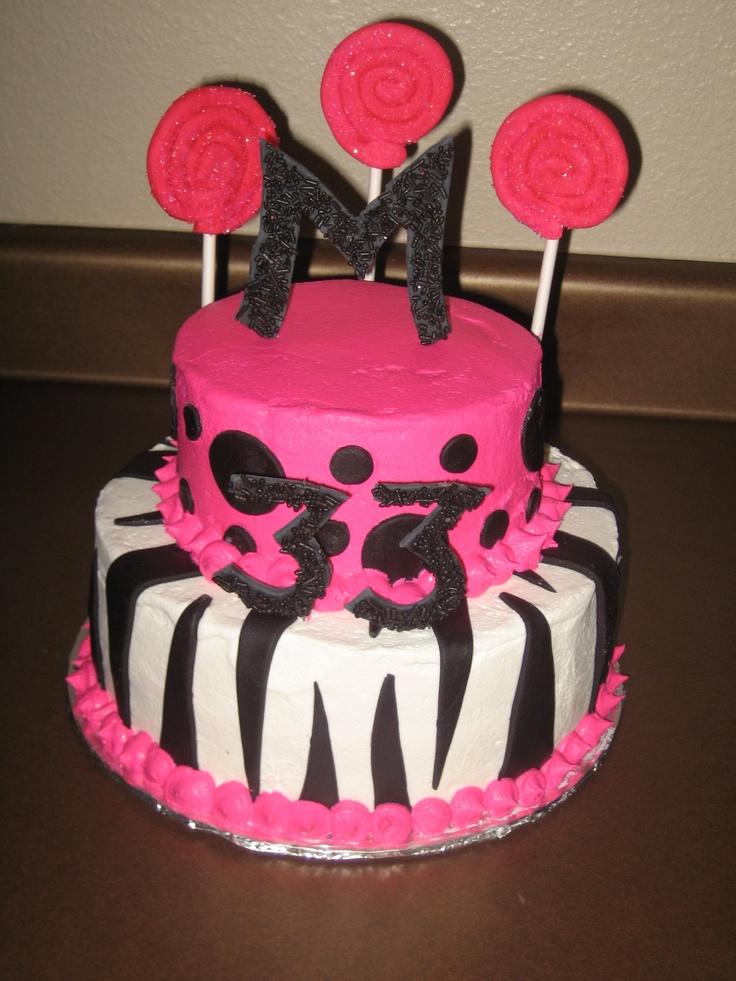 hot pink zebra birthday cakes