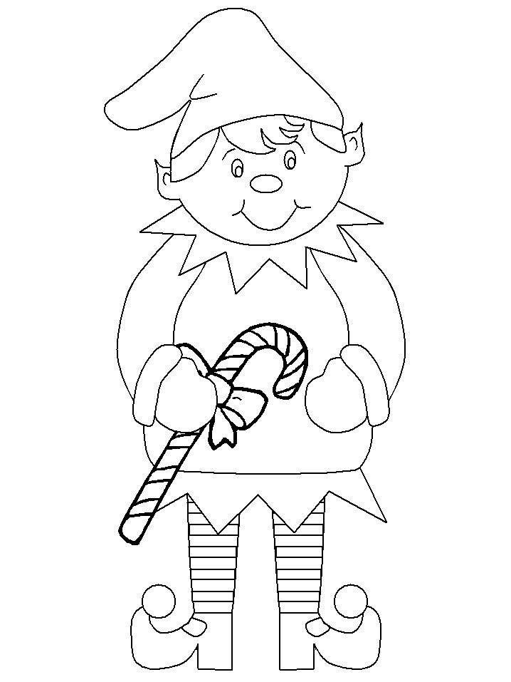 candy cane elf coloring page christmas Pinterest