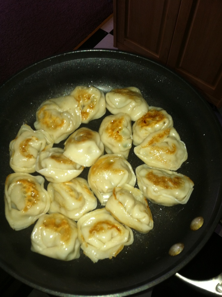 Pan-Seared Dumplings -- 1 lb. of Ground Chicken, Diced Peppers and ...