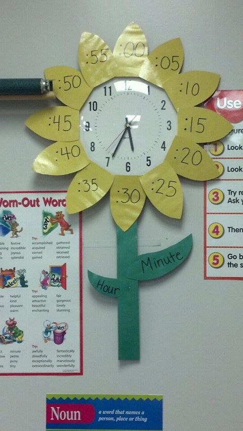 sunflower clock to help students tell time!