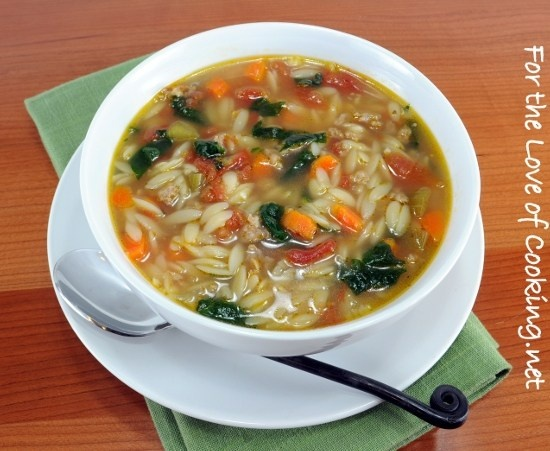 Spinach And Turkey Italian Sausage Soup With Veggies And Orzo ...