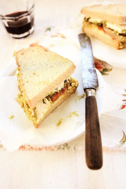 roasted vegetables, cottage cheese and avocado sandwich