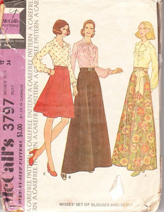 vintage sewing pattern s skirt in two length and
