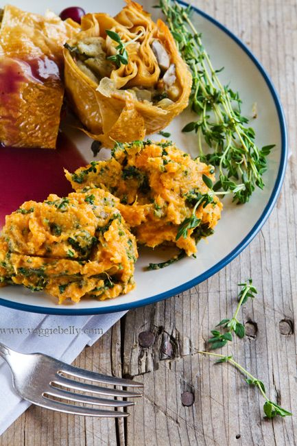 Vegetarian Kale and Goat Cheese Mashed Sweet Potatoes