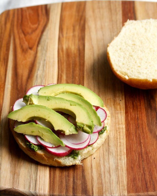 -Ingredient Radish Sandwich - Radish & Radish Leaf Pesto with Avocado ...