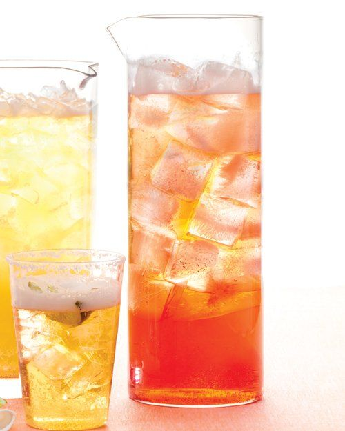 large pitcher with ice. Stir in 2 bottles pale ale and 1 1/2 cups sour ...