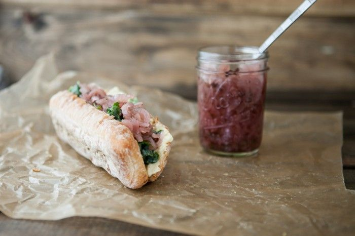 Hummus, Onion Relish, and Honey-Lime Kale Sandwich | Recipe