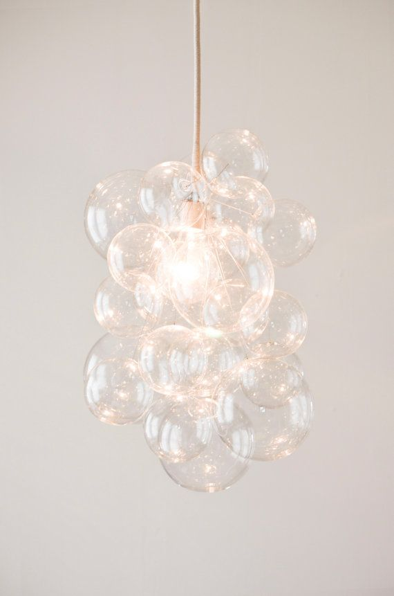 The Cloud Glass Bubble Chandelier in Clear or Gilded
