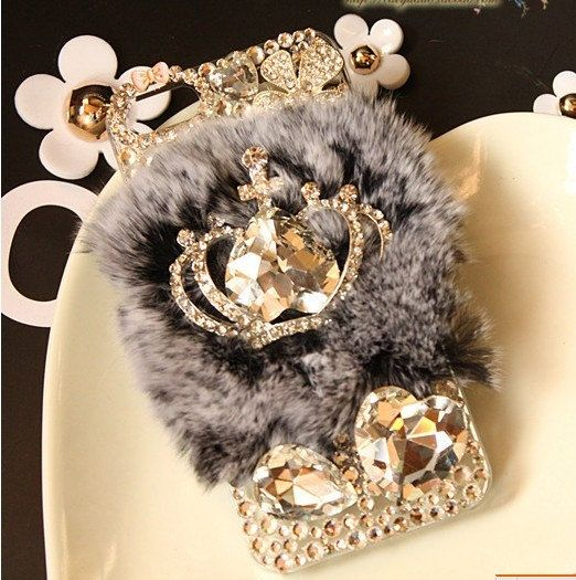 Warm Soft Fur Feather Crystal IPhone 4 Lace