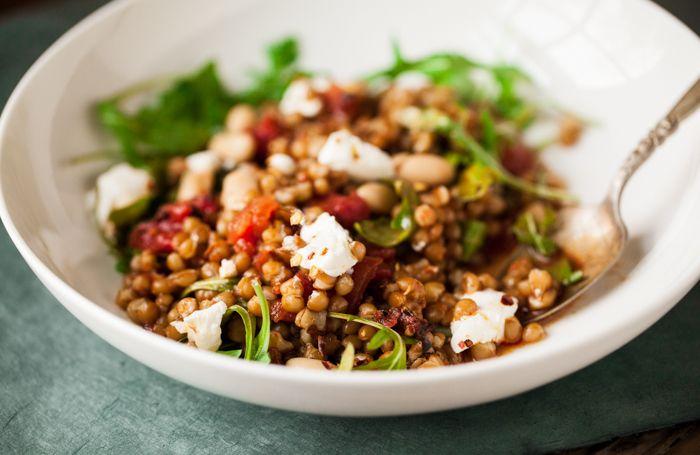 Wheat berries with charred tomato, arugula & ricotta   Recipe