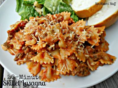 20 Minute Skillet Lasagna - really good! Makes a LOT. The 5-year-old loved it. Think of it as a gourmet hamburger helper. Good stuff.