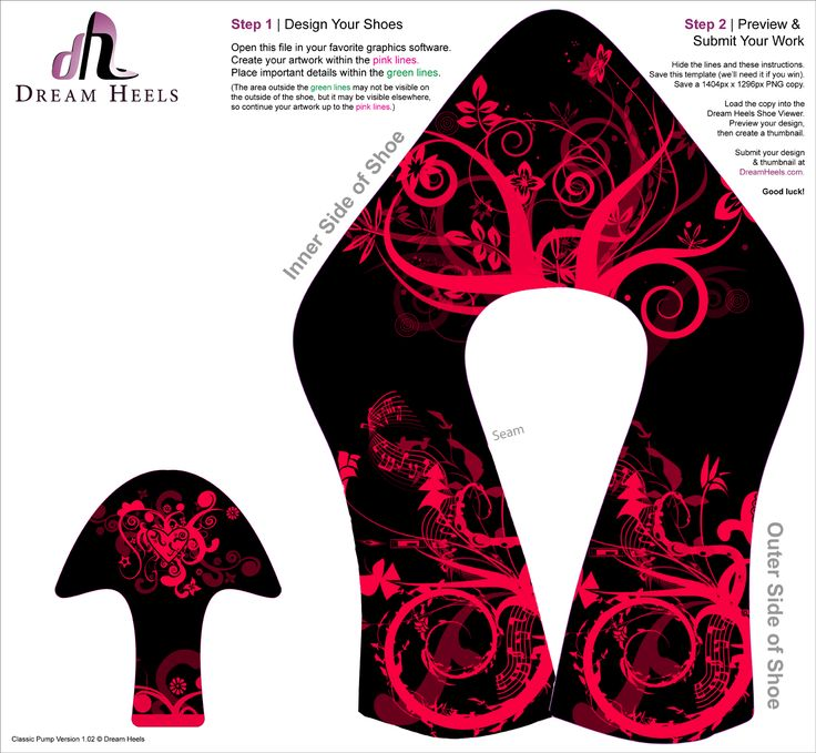 high heel paper shoe template crafts