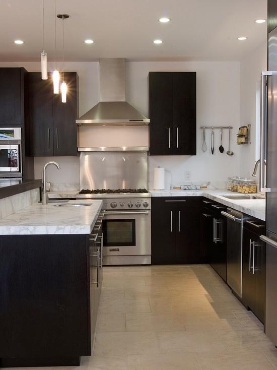Ikea Kitchens Dark Floor Boards White Cupboards
