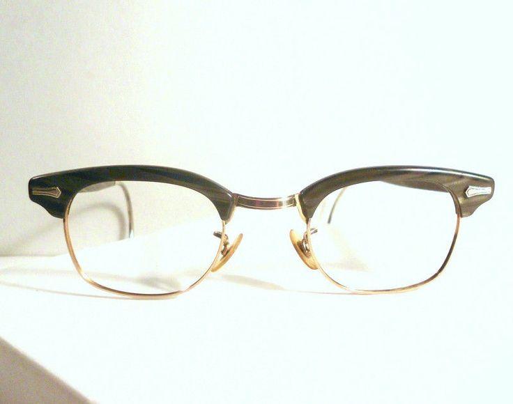 Vintage SHURON Mens Gray Marbled Eyeglass Frame 44/24 USA