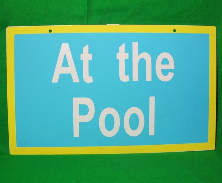 At The Pool Metal Sign 8x13 5 Blue And Yellow Swimming Wall Hanging D