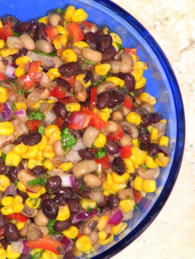 ... salad with black beans, black-eyed peas, red bell peppers and cilantro
