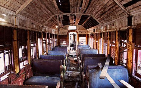 abandoned train interior photo old bones r i p pinterest. Black Bedroom Furniture Sets. Home Design Ideas