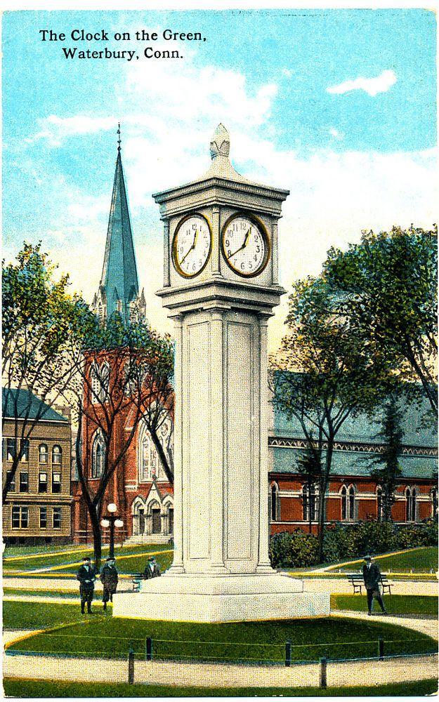 Waterbury Ct Clock On Green